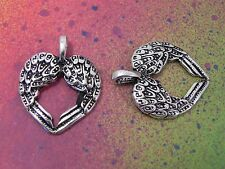 10 Angel Wings Heart Shape Double Connector Feather Wing Charm Silver Charms