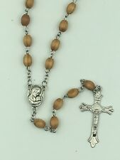 1st Communion Gift, Wood Rosary w/Holyland Soil/Mary Image center,  Handmade