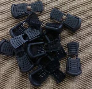 10 Black Plastic Zipper Pulls Cord Lock Ends Paracord Tactical Tab Repair