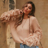 Women's Loose Sweater Stylish Long Sleeve Tassel  Knit Sweater Fall Blouse Tops