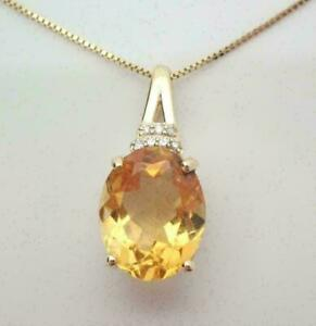 2Ct Oval Cut Citrine Diamond Women's Pendant Free Chain 14K Yellow Gold Finish