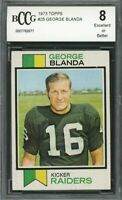 1973 topps #25 GEORGE BLANDA oakland raiders (50-50 CENTERED) BGS BCCG 8