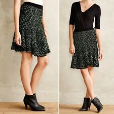 Moth Anthropologie Pop Tweed Sweater Skirt Size S Small Knit Flare Black Green