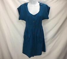 Anthropologie Blue Button Down Shirt Dress By Maeve Size 0 Shift