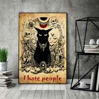 Black Cat I Hate People Creepy Cat Skull Halloween Vintage Poster