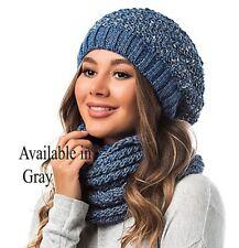 Women Girl Winter Warm Slouchy Crochet Knit Hat Beanie Cap Infinity Scarf Set