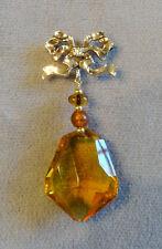 Antique PS Co. Edwardian 10K Yellow Gold Ribbon Bow Fob Amber Dangle Pin/Pendant