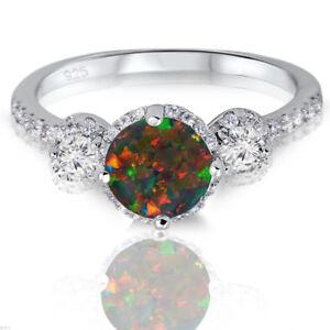 Black Fire Opal Gem Halo Sterling Silver Trending CZ Ring 2.17 Ctw