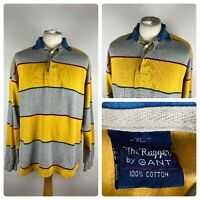 GANT Mens Striped Colour Block Long Sleeved Casual Polo Rugby / XL Cotton VTG