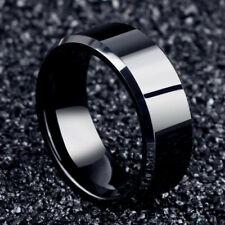 Hombre Negro Anillo De Boda De Titanio Acero amante pareja anillos para mujer Talla 6-12