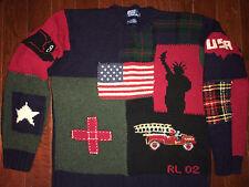 RALPH LAUREN Vtg Polo 2001-02 Tribute 9-11 NYFD Hand Knit Sweater AMERICAN FLAG