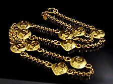 100% Authentic CHANEL Gold-Tone Coco Mark CC Logo Pendant Necklace N644