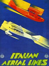 TRAVEL TRANSPORT RETRO AIRPLANE ITALY SERVICE WATER PLANE POSTER PRINT LV4440