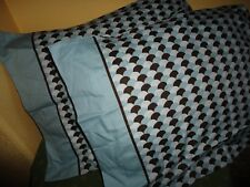 KOHL'S APT 9 BLUE & BROWN CALICO (PAIR) KING PILLOWCASES 100% COTTON 21 X 39