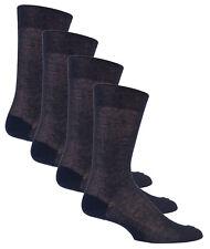 4 Pair Mens 100% pure Cotton Ribbed Socks, Mid Calf Navy Blue 40-41, 7-8.5 uk