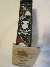 "Earth Dog Eco Hemp Dog Collar 1""  Black Skull Heart Sm"