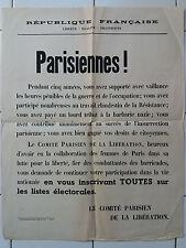 Rare affiche Guerre 39-45 - Parisiennes ! - Droit de vote femmes