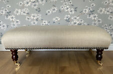 Footstool Stool In Laura Ashley In Edwin Natural Fabric