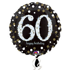 60th Happy Birthday Foil Balloon Black Silver Gold Party Decorations Age 60