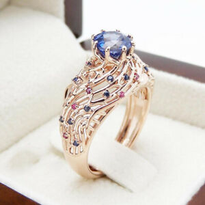 Fashion Flower Rose Gold Rings Women Sapphire Wedding Jewelry Ring Gift Size 9