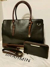 BRAHMIN FINLEY CARRYALL/SATCHEL/WORKBAG & WALLET BLACK TUSCAN LEATHER