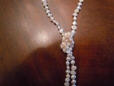 """NATURAL GENUINE 5-10 mm IVORY BAROQUE PEARL NECKLACE JEWELRY 46"""" LONG"""