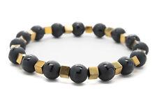 Onyx Color Hematite Natural Beaded Bracelet Chakra Healing Men Women-DT344