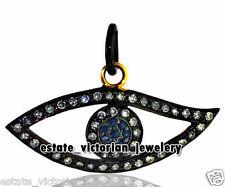 Studded Silver Evil Eye Pendant Jewelry Vintage 1.75ct Rose Cut Diamond Sapphire