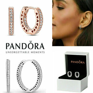 Pandora New Genuine Hoop Earrings 925 Sterling Silver 296317 CZX With Gift Box