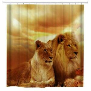African Lion Fabric Shower Curtain Set Bathroom Decor with Hook Washable