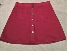 Cooperative BURGUNDY Denim Popper  UK 12 MEDIUM A Line Mini Skirt 100% COTTON