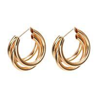 Band Ohrringe Geometrische Ohrringe Metall Hängende Mode Zubehör Gold O1K8