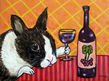BUNNY WINE picture 11oz coffee rabbit animal art Mug