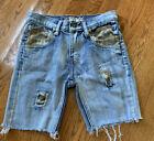 Girls Vintage & Denim Brand Camo Patch Work Long Shorts Size 10