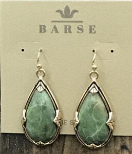 Barse Teardrop Earrings- Green Jasper- Bronze- New with Tags