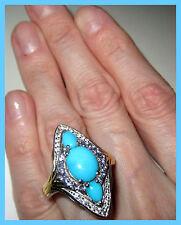 Sleeping Beauty Turquoise Tanzanite WhiteTopaz Ring Sterling Silver 925 sz  10