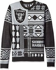 NEW NFL Oakland Raiders Patches Ugly Sweater, Black, Small