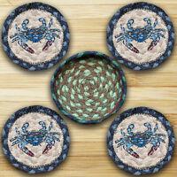 BLUE NAUTICAL CRAB 100% Natural Braided Jute Coaster Set of 4 with Jute Basket