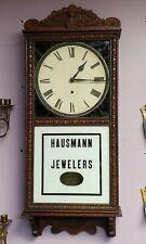 Circa 1920 Art Deco Tiger Oak Grandfather Wall Clock (Hausmann Jewelers)