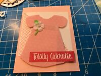 Baby Girl Card Soft Yellow dress with white daisies and lace collar handmade