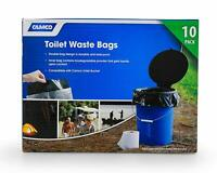 Camco 41548 10 Pack of Leak Proof Double Lined Camping Toilet Waste Bags, Black
