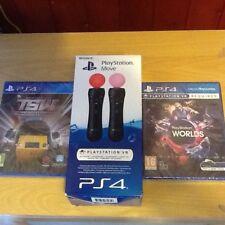 Sony (PlayStation Move) paquete de 2 (ps4) mundos VR) 4 Juegos en 1 (tren Sim mundo