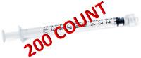10x Nitrile Gloves + 200x Tuberculin Syringe 1 mL/1cc Luer Lock w/o Safety