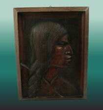 Wood Carving Beautiful Native Woman Wall Plaque