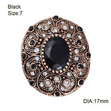 Women Oval Shaped Vintage Jewelry Crystal Ancient Gold Plated Resin Wedding Ring Black 7