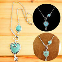 Vintage Heart Shape Turquoise Pendants Necklace Long Chin Charm Jewellery Gift