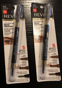 2 Revlon Colorstay Brow Creator Micro Pencil Powder & Brush #605 Soft Brown