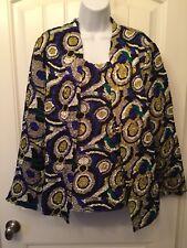 ANALOGY Size Large Multi Abstract Design Open Jacket Sleeveless Blouse Set NEW