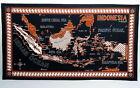 "Vintage Batik Batu Raden Indonesia Fabric Cloth Textile Linen Map 42""x 23.5"""