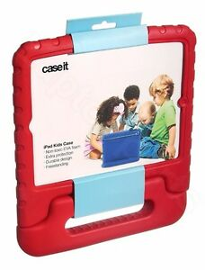 Caseit Child Friendly hard Case Cover in Red for iPad 2/3/4 with Built-in Stand